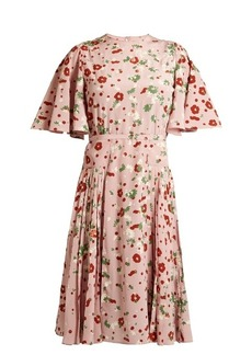 Valentino Daisy-print silk crepe de Chine dress
