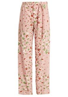 Valentino Daisy-print silk crepe de Chine trousers
