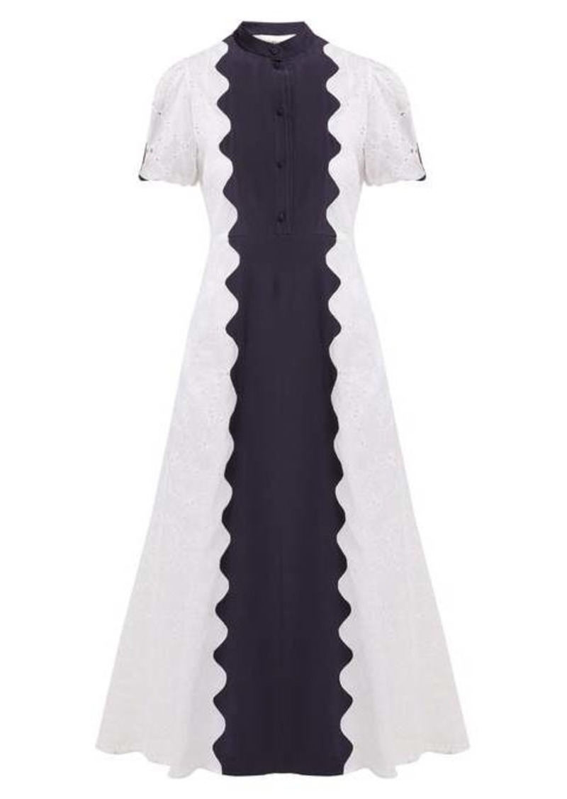Valentino Damier scalloped-panel cotton-organdy midi dress