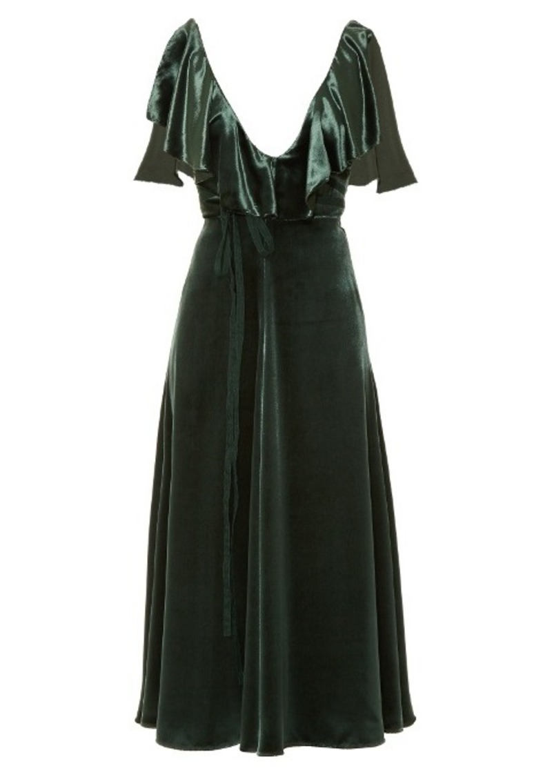 Valentino Deep V-neck velvet midi dress
