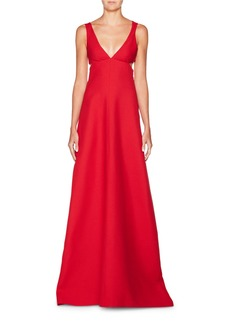 Valentino Deep-V Sleeveless Cutout Crepe Evening Gown