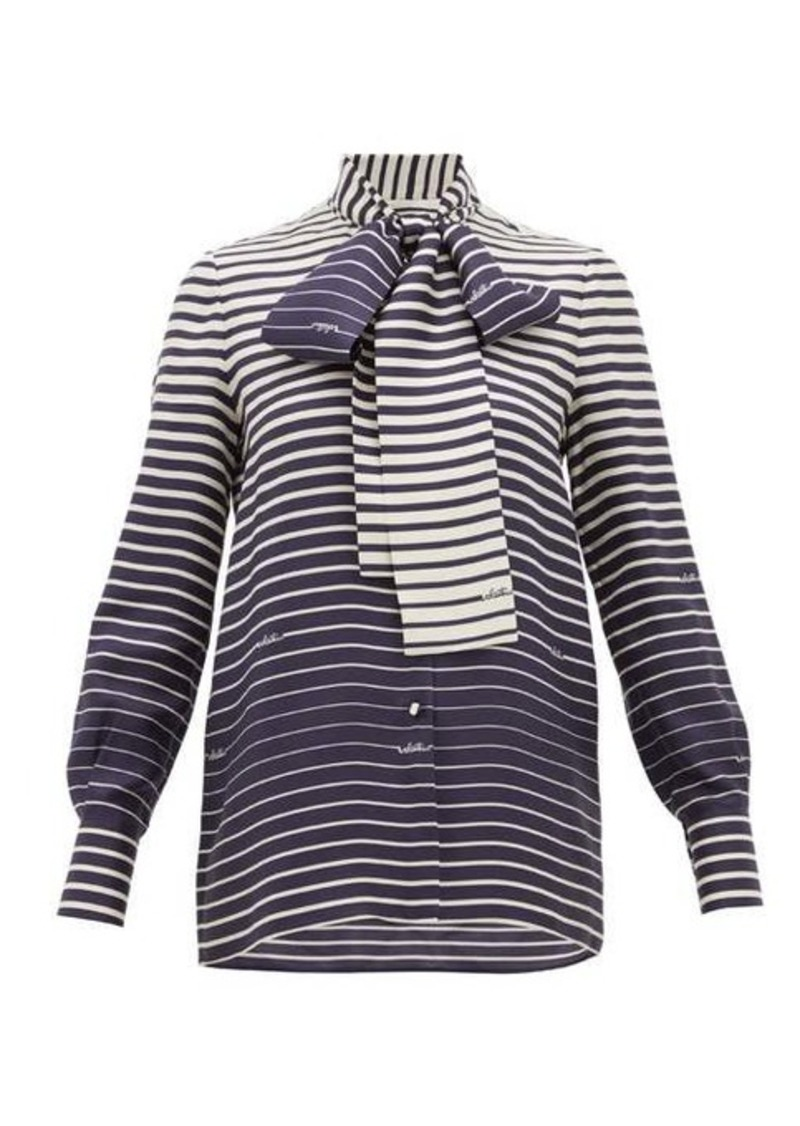 Valentino Degradé-stripe silk-twill blouse