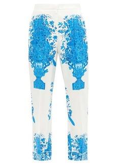 Valentino Delft-print silk-twill trousers