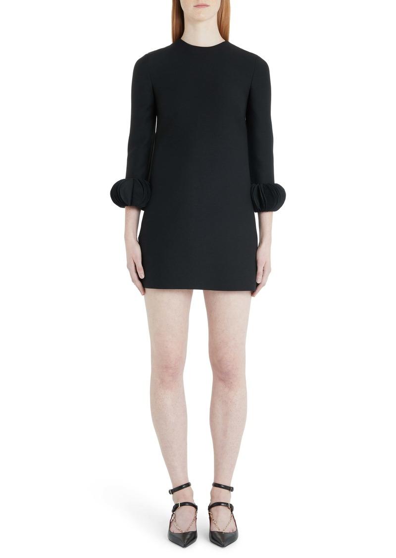 Valentino Disc Cuff Wool & Silk Shift Minidress