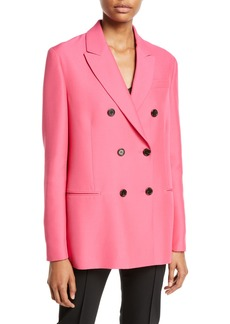 Valentino Double-Breasted Cady Silk-Wool Jacket