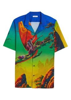 Valentino Dragon at Dawn Button-Up Short Sleeve Shirt