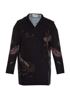 Valentino Dragon-embroidered raw-edge pea coat