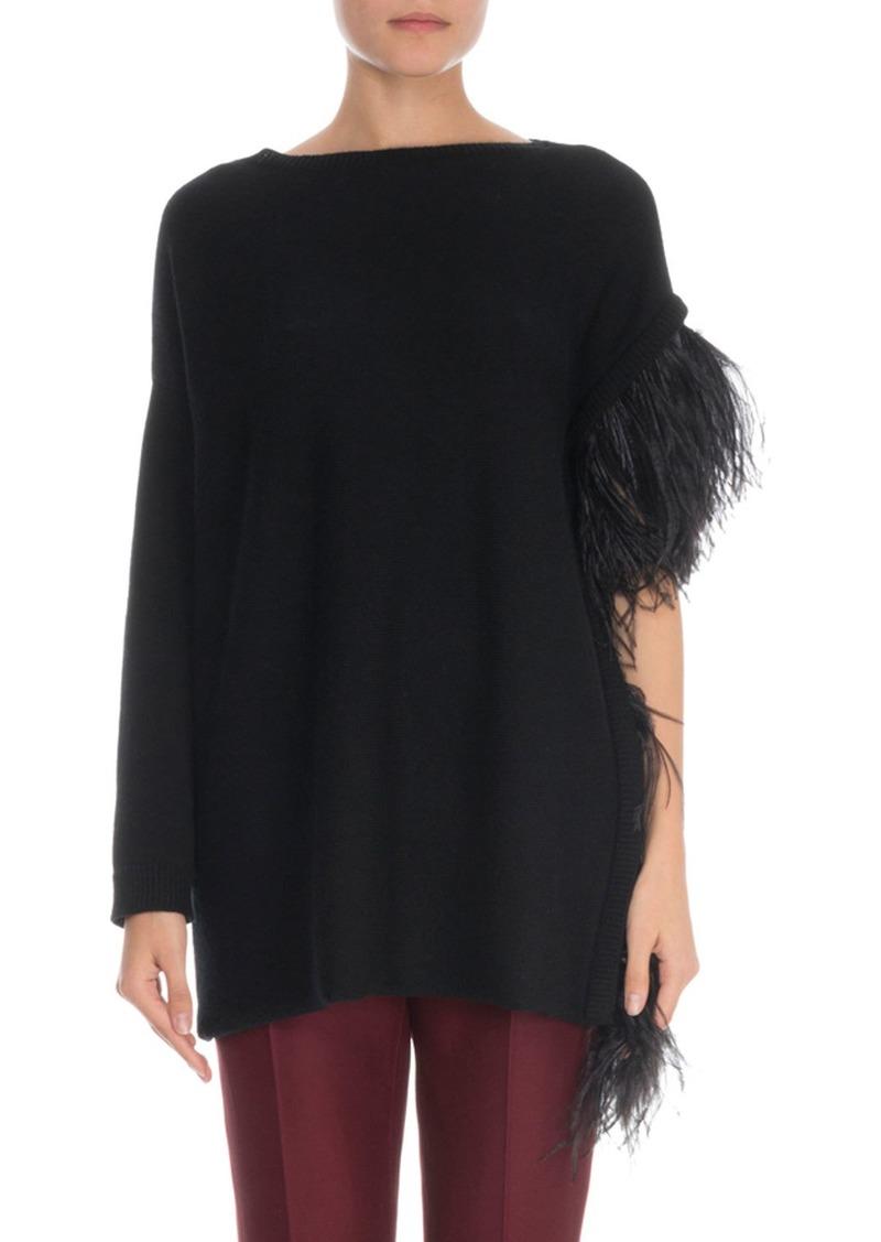 Valentino Draped-Feather Cashmere Sweater