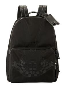 Valentino Eagle Nylon Leather-Trim Backpack