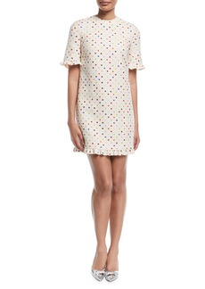 Valentino Elbow-Sleeve Polka-Dot Crepe Couture Cocktail Dress