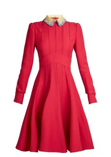 Valentino Embellished-collar wool and silk-blend dress