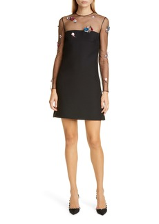 Valentino Embellished Mesh Long Sleeve Wool & Silk Dress