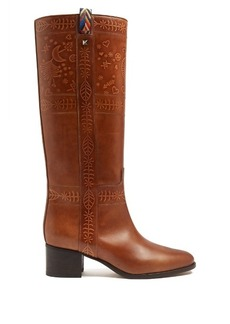 Valentino Embossed leather knee-high boots