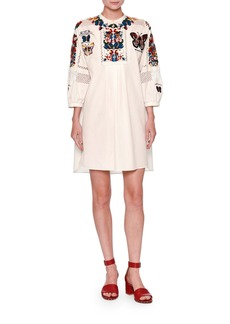 Valentino Embroidered Bishop-Sleeve Tunic Dress