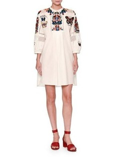 Valentino Embroidered Bishop-Sleeve Tunic Dress
