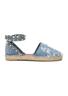 Valentino Embroidered Butterfly Denim Espadrilles