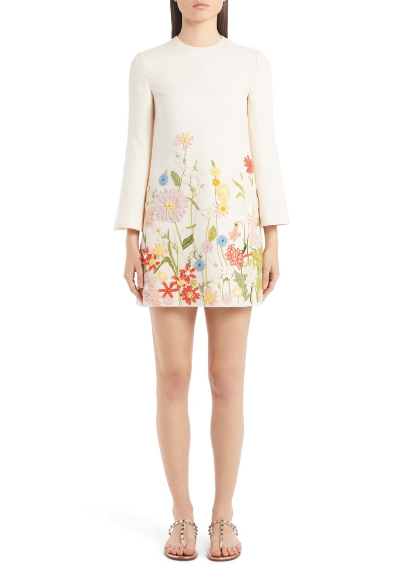 Valentino Embroidered Floral Wool & Silk Long Sleeve Shift Dress