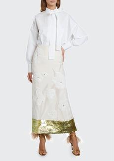 Valentino Embroidered Midi Skirt