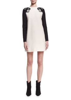 Embroidered Panther Crepe Couture Minidress