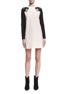 Valentino Embroidered Panther Crepe Couture Minidress