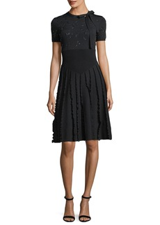 Valentino Embroidered Short-Sleeve Knit Dress