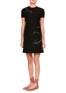 Valentino Embroidered-Swallow Short-Sleeve Dress
