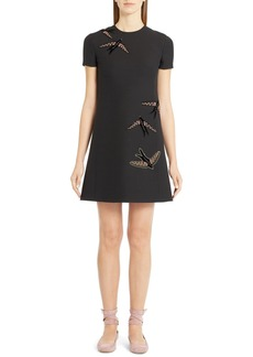 Valentino Embroidered Swallow Wool & Silk Crepe Dress