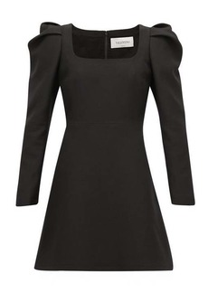 Valentino Exaggerated-shoulder wool-blend crepe dress