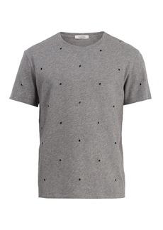 Valentino Eyelet-embellished cotton-blend T-shirt