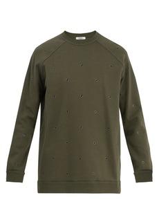 Valentino Eyelet-embellished raglan sweatshirt