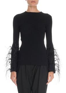 Valentino Feather-Cuff Crewneck Sweater
