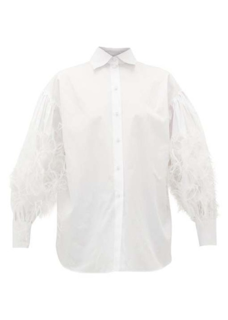 Valentino Feather-embellished cotton-poplin shirt