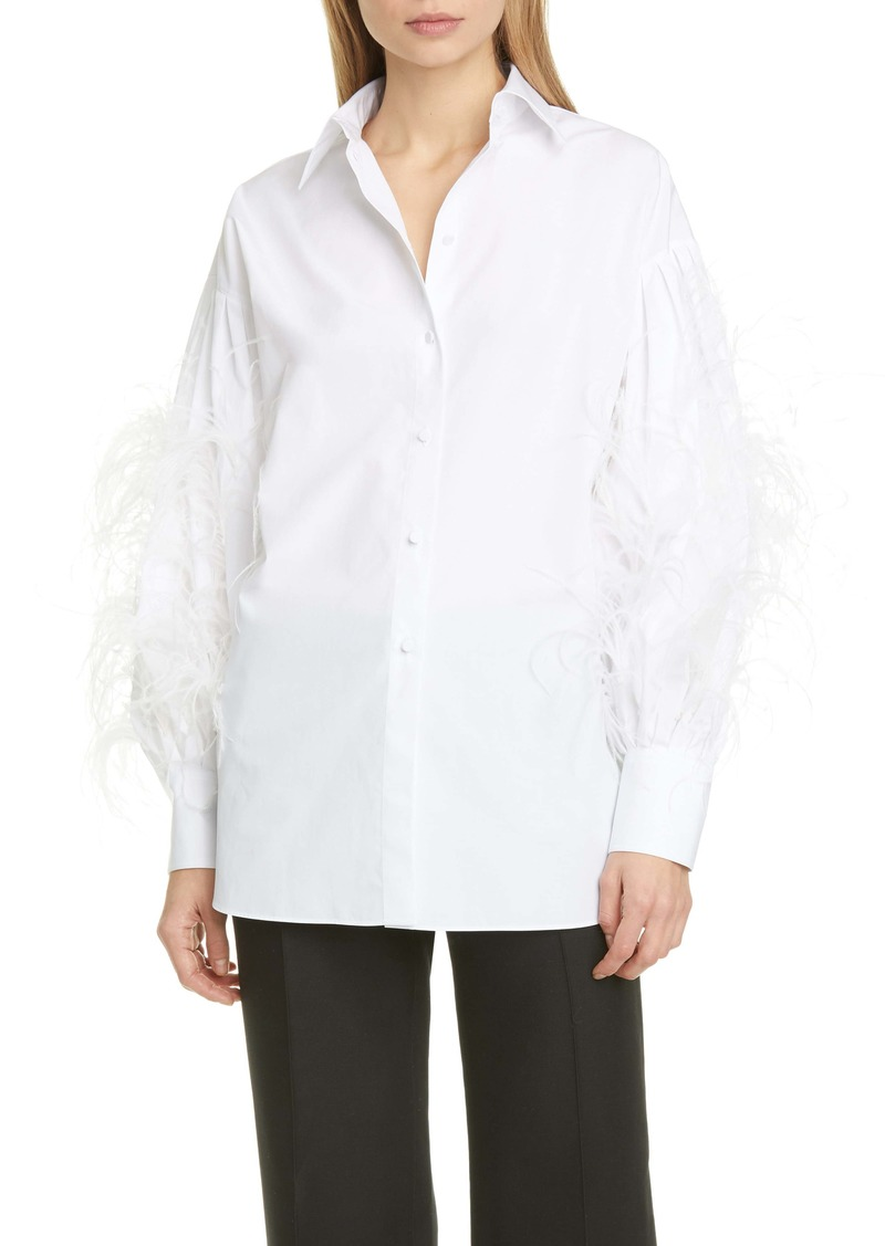Valentino Feather Sleeve Poplin Shirt