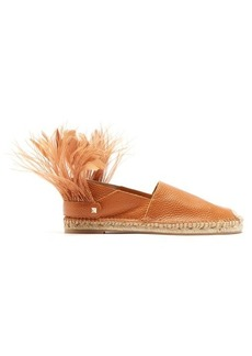Valentino Feather-strap leather espadrilles