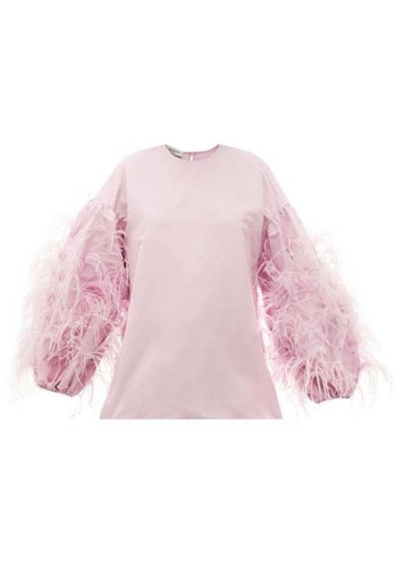 Valentino Feather-trim cotton-blend faille blouse