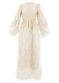 Valentino Feather-trimmed beaded wool-blend gown