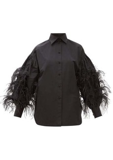Valentino Feather-trimmed cotton-blend shirt