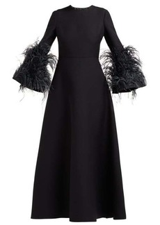 Valentino Feather-trimmed wool and silk-blend gown