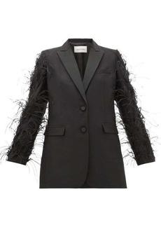 Valentino Feather-trimmed wool-blend blazer