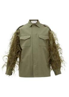 Valentino Feathered cotton-gabardine utility jacket