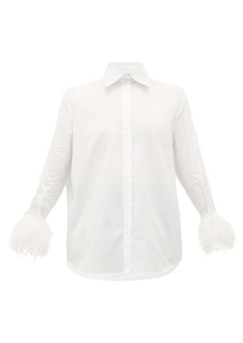 Valentino Feathered-cuff cotton shirt