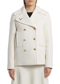 Valentino Fitted Wool Peacoat
