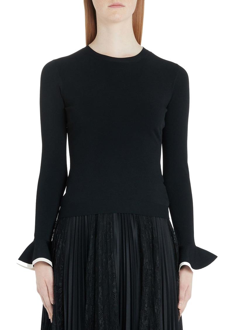 Valentino Flare Cuff Ribbed Sweater