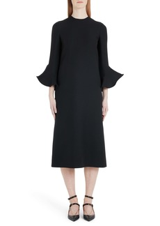 Valentino Flare Cuff Wool & Silk Midi Shift Dress