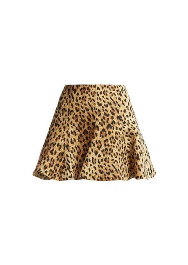 Valentino Flared leopard-print mini skirt