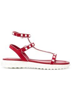 Valentino flat Rockstud sandals - Red
