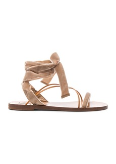 Valentino Flat Velour Ankle Tie Sandals