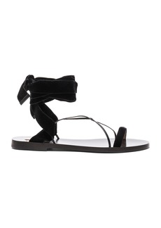 Valentino Flat Velour Ankle Tie Sandals