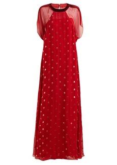 Valentino Flocked-floral velvet gown