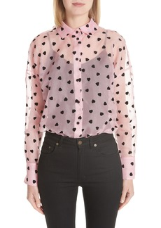 Valentino Flocked Heart Sheer Silk Blouse